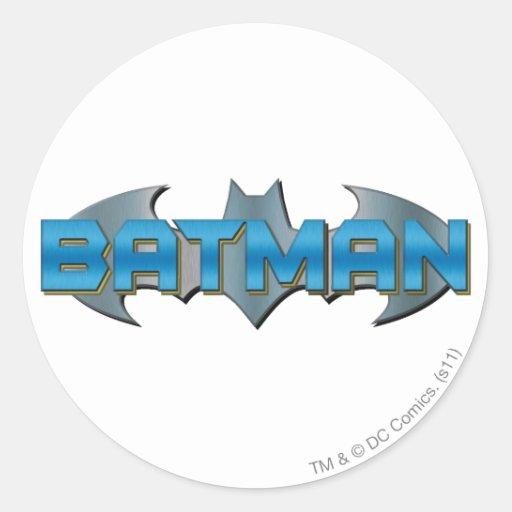 Batman | Blue Name Logo Round Sticker