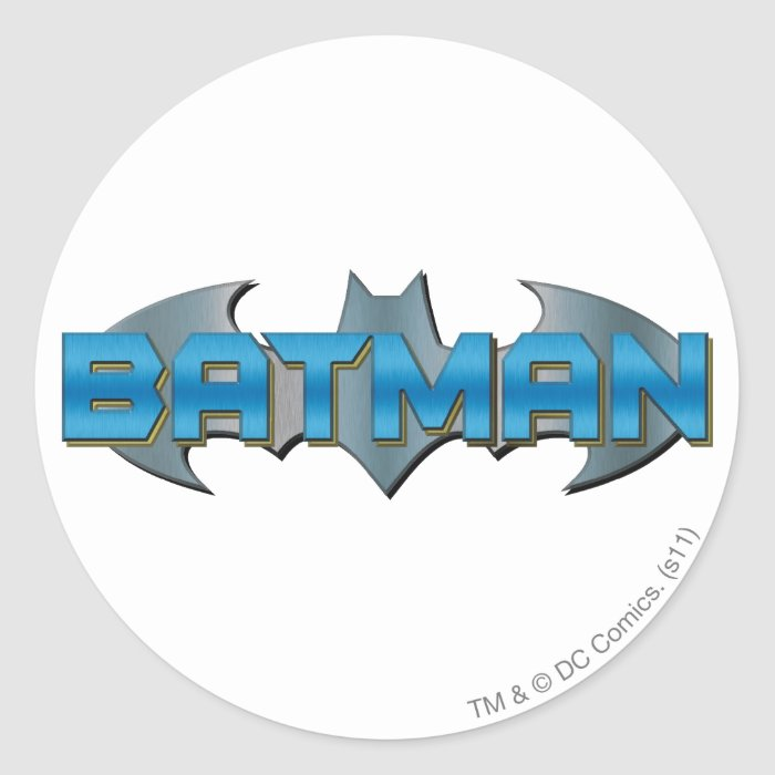Batman | Blue Name Logo Round Sticker