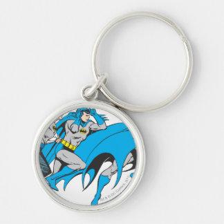 Batman/Bruce Transformation Silver-Colored Round Key Ring