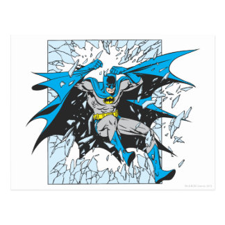 Batman Bursts Through Glass Postcard