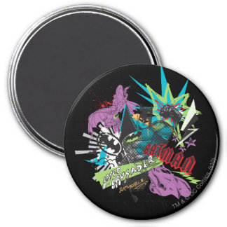 Batman Caped Crusader Neon Collage 7.5 Cm Round Magnet