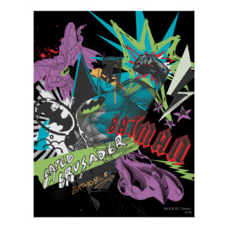 Batman Caped Crusader Neon Collage Print