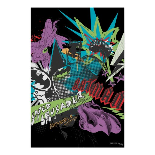 Batman Caped Crusader Neon Collage Posters