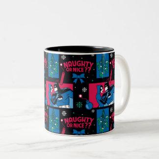 Batman | Catwoman Naughty Or Nice Pattern Two-Tone Coffee Mug
