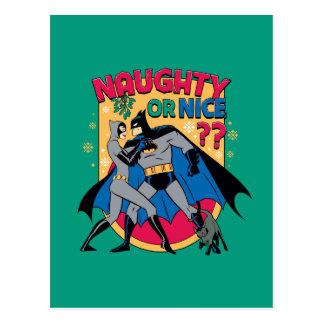 Batman   Catwoman Under Mistletoe Naughty Or Nice Postcard