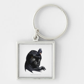 Batman Crouching Silver-Colored Square Key Ring
