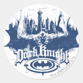 Batman Dark Knight | Cityscape Blue Logo Classic Round Sticker