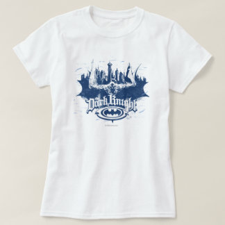 Batman Dark Knight   Cityscape Blue Logo T Shirts