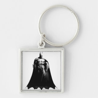 Batman Front View B/W Silver-Colored Square Key Ring