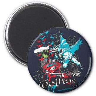 Batman Gotham Guardian Lineart Collage 6 Cm Round Magnet