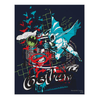 Batman Gotham Guardian Lineart Collage Poster
