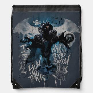Batman Graffiti Graphic - I Know How You Think Drawstring Backpack
