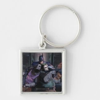 Batman Group 2 Silver-Colored Square Key Ring