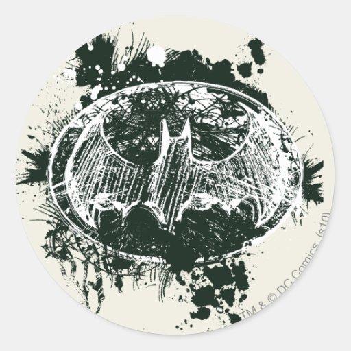 Batman Grunge Splatter Sketch Round Sticker