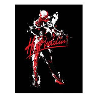 "Batman   Harley Quinn ""Hi Puddin'"" Ink Art Postcard"