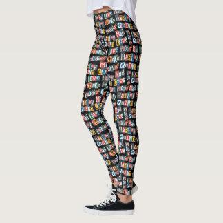 Batman   Harley Quinn Ransom Note Style Pattern Leggings
