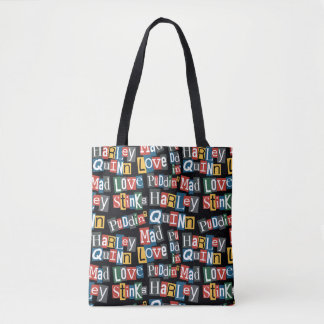 Batman | Harley Quinn Ransom Note Style Pattern Tote Bag