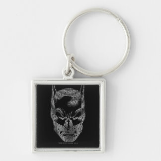 Batman Head Mantra Silver-Colored Square Key Ring
