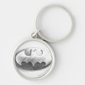 Batman Insignia Drawing Silver-Colored Round Key Ring