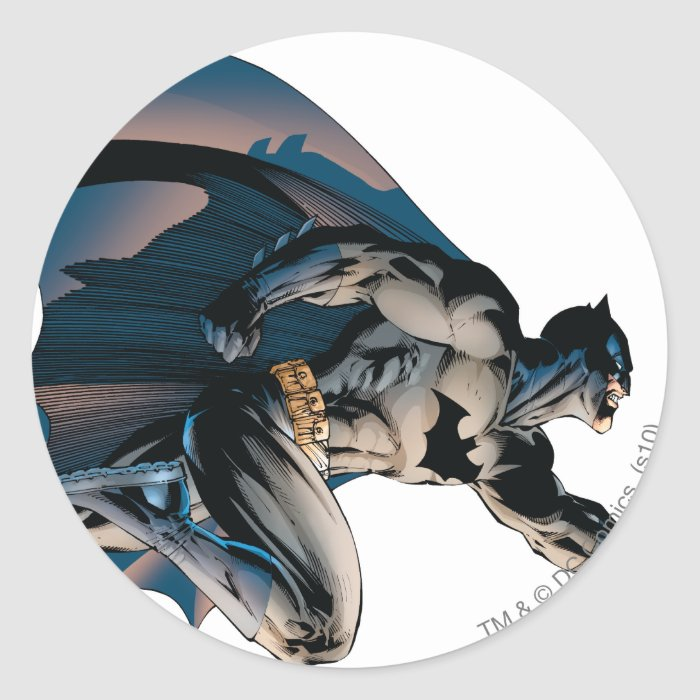 Batman Leaping Side View Round Sticker