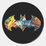 Batman Logo Neon/80s Graffiti Round Stickers