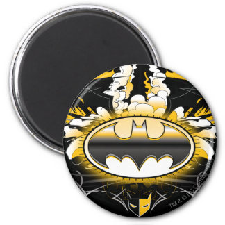 Batman Logo with Cars 6 Cm Round Magnet