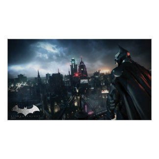 Batman Looking Over City Poster