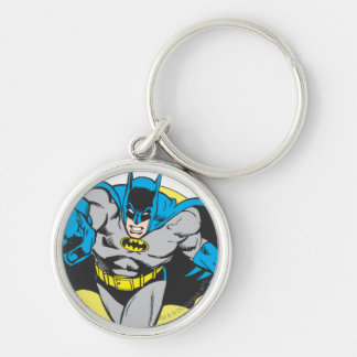 Batman Lunges Forward Silver-Colored Round Key Ring