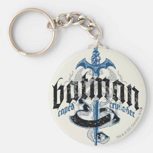 Batman | Name with Sword Logo Basic Round Button Key Ring