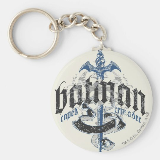 Batman | Name with Sword Logo Basic Round Button Key Ring