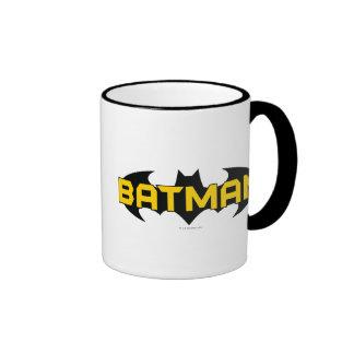 Batman Name Yellow and Black Background Ringer Mug