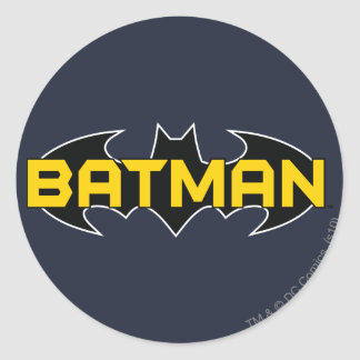 Batman Name Yellow and Black Background Round Sticker