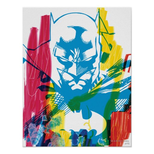Batman Neon Marker Collage Print