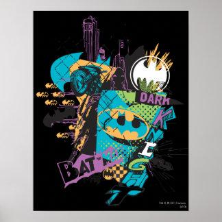 Batman Neon The Dark Knight Collage Poster