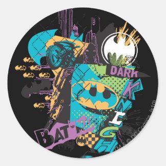 Batman Neon The Dark Knight Collage Round Sticker