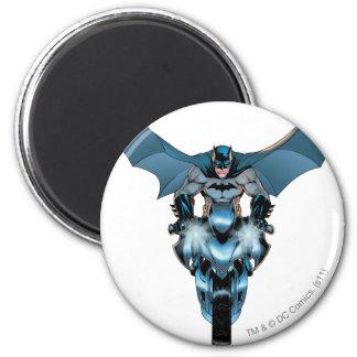 Batman on bike with cape 6 cm round magnet