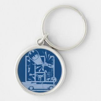 Batman - Picto Blue Silver-Colored Round Key Ring