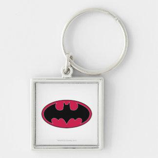 Batman Red Black Logo Silver-Colored Square Key Ring