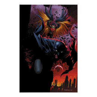 Batman & Robin Flight Over Gotham Poster