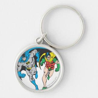 Batman & Robin Silver-Colored Round Key Ring