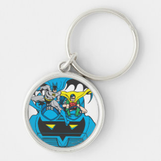 Batman & Robin Ride Batmobile Silver-Colored Round Key Ring