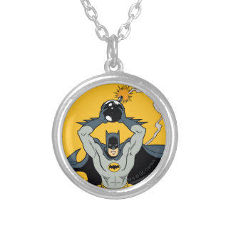 Batman Running With Bomb Silver Plated Necklace