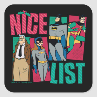 Batman | Santa Nice List of Heroes Square Sticker