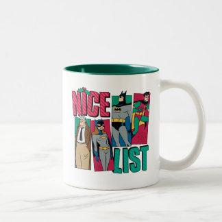 Batman | Santa Nice List of Heroes Two-Tone Coffee Mug