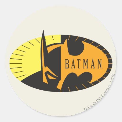 Batman Silhouette Round Stickers