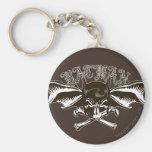 Batman Skull Cowl Batwings Logo Basic Round Button Key Ring