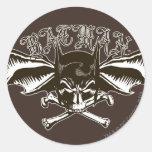 Batman Skull Cowl Batwings Logo Round Sticker