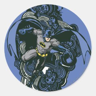Batman Skulls/Ink Doodle 2 Classic Round Sticker