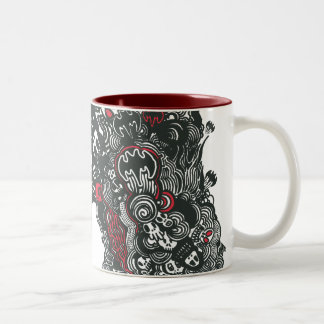 Batman Skulls/Ink Doodle Two-Tone Coffee Mug
