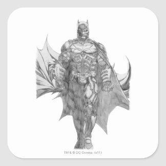 Batman Standing Drawing Square Sticker